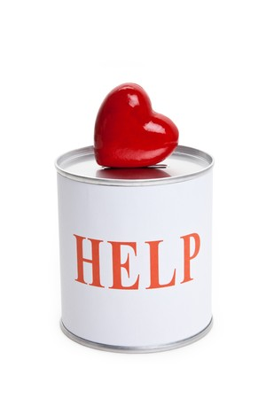 Help, Donation Box and Red Heart, Concept of Care and Love