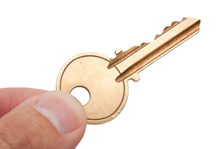 Golden House Key with white background