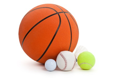 Balls, Basketball, golf ball, badminton, baseball, tennis ball. photo