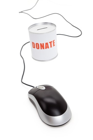 Donation Box and Computer Mouse, Concept of Care and Love photo