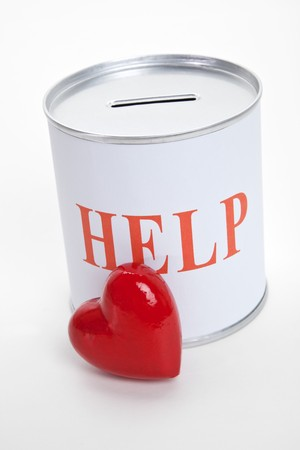 Help, Donation Box and Red Heart, Concept of Care and Love Stock Photo - 7544349