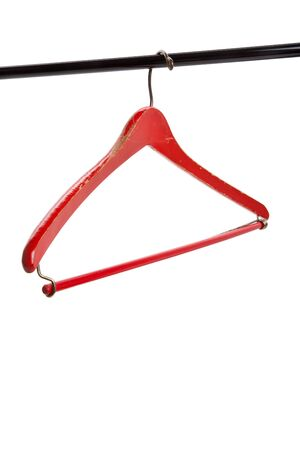Red Wood Hanger with white background Stok Fotoğraf - 7544317