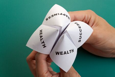cootie catcher: Paper Fortune Teller,concept of life balance Stock Photo