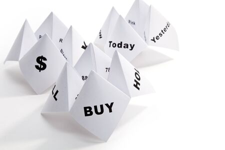 cootie catcher: Paper Fortune Teller,concept of business decision Stock Photo
