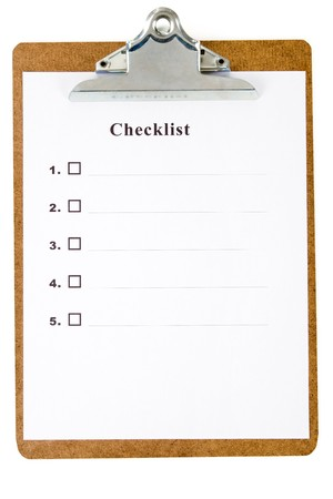 Checklist and Clipboard with white background