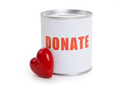 donating: Donation Box and Red Heart, Concept of Care and Love