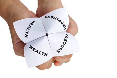Paper Fortune Teller,concept of life balance Stock Photo