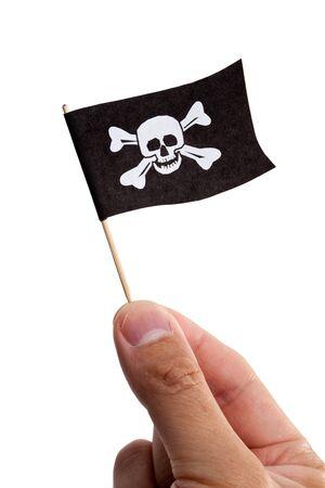 drapeau pirate: Drapeau de pirate avec fond blanc