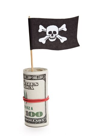 crime: Pirate Flag and Dollar, concept of business crime