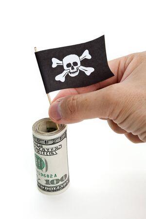 drapeau pirate: Drapeau de pirate et Dollar, concept de criminalit� �conomique