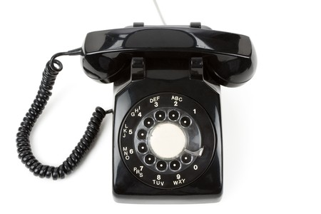 rotary phone: Black telephone with white background