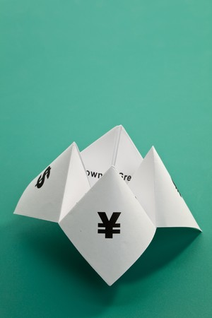 Paper Fortune Teller,concept of business decision Stock Photo