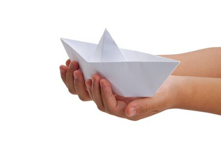 Paper Boat, old toy, close up photo