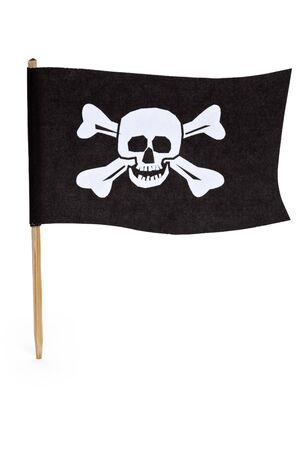 drapeau pirate: Drapeau de pirate avec fond blanc Banque d'images