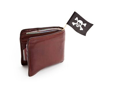 crime: Pirate Flag and Wallet, concept of business crime Stock Photo