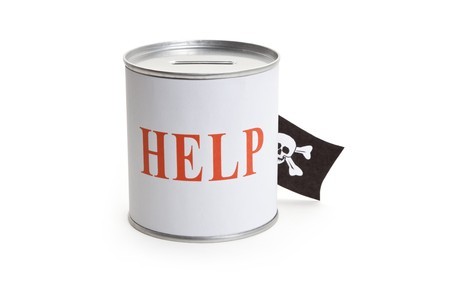 crime: Donation Box and Pirate Flag, concept of financial Crime