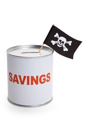 crime: Coin Bank and Pirate Flag, concept of finance crime Stock Photo