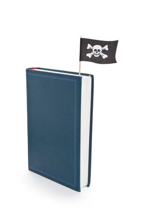 drapeau pirate: Livre et Pirate Flag, concept de piratage, Bad livre