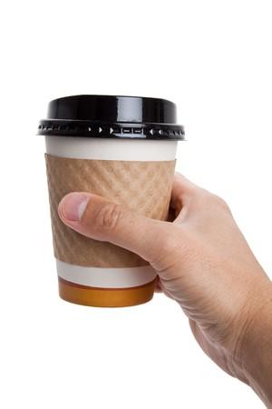 흰색 배경 가진 일회용 커피 잔