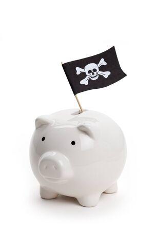 drapeau pirate: Pirate drapeau et la tirelire, concept de criminalit� �conomique