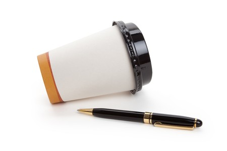 Disposable Coffee Cup and pen, concept of ideas,  Inspiration Stock Photo - 7781338