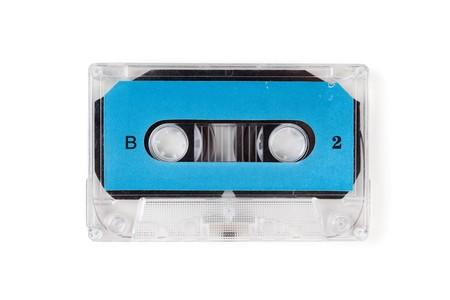 audio: Blue Audio Cassette close up Stock Photo
