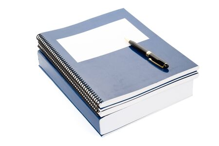 Blue school textbook, notebook or manual with white background Stock Photo - 7805594