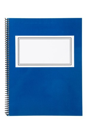 notebook: Blue school textbook, notebook or manual with white background