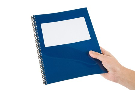 handbooks: Blue school textbook, notebook or manual with white background