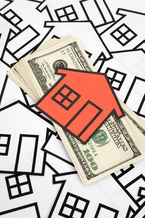 real estate house: a red home sign and dollar sign,  Real Estate Concept  Stock Photo