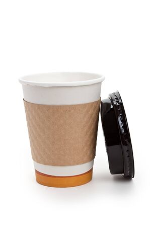Disposable Coffee Cup with white background Stock Photo - 7805597