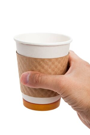 Disposable Coffee Cup with white background photo