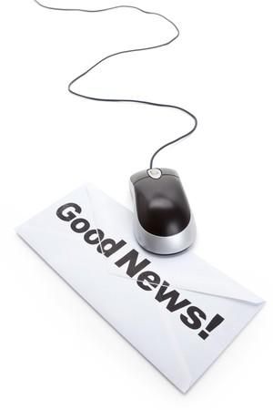Goed nieuws en computermuis, concept van e-mail Stockfoto