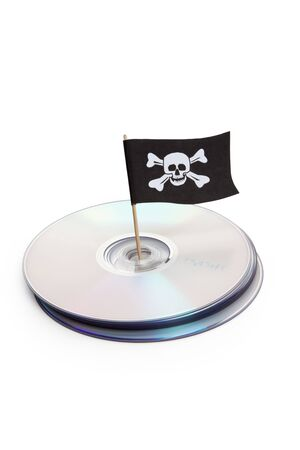 piracy: CD, DVD and Pirate Flag, concept of Piracy
