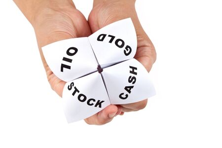 Paper Fortune Teller, Gold; Oil; Cash; Stock, concept of business decision Stock Photo - 7949463