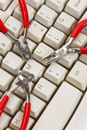 Computer Keyboard and Tools, concept of IT Support Stock Photo - 7949548
