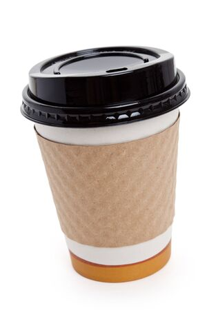 cup: Disposable Coffee Cup with white background Stock Photo