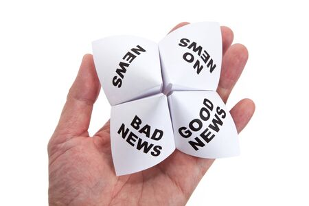 cootie catcher: Paper Fortune Teller, Good News; Bad News; No News; News, concept of business decision