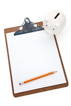 Piggy bank and Clipboard, Concept of Home Finance plan