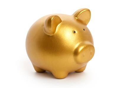 piggy bank: Golden Piggy Bank with white background Stock Photo