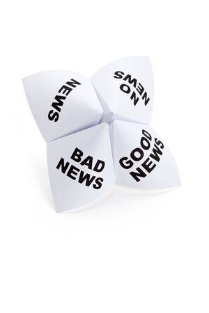 Paper Fortune Teller, Good News; Bad News; No News; News, concept of business decision photo