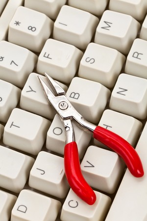 Computer Keyboard and Tools, concept of IT Support Stock Photo - 8053778