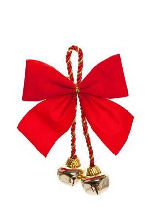 christmas bells: Christmas Bells and ribbon with white background