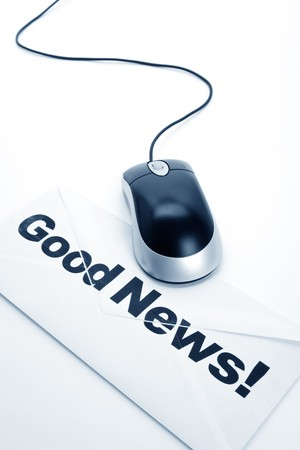 Good News and computer mouse, concept of email Stockfoto