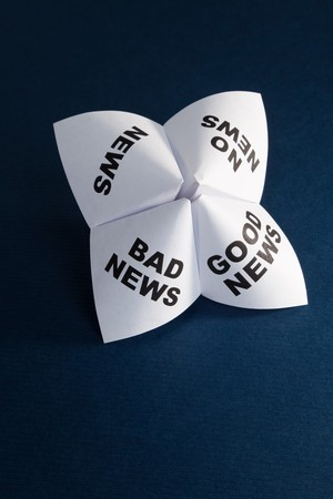 bad fortune: Paper Fortune Teller, Good News; Bad News; No News; News, concept of business decision