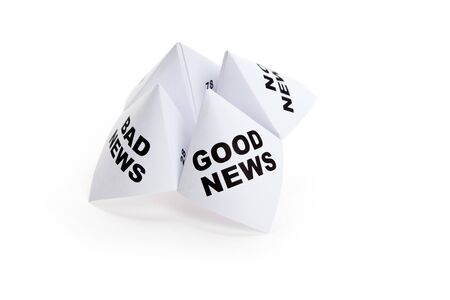 bad fortune: Paper Fortune Teller, Good News; Bad News; No News, concept of business decision