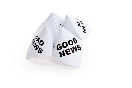 Papier waarzegster, goed nieuws; Slecht nieuws; Geen nieuws, concept van zakelijke beslissing