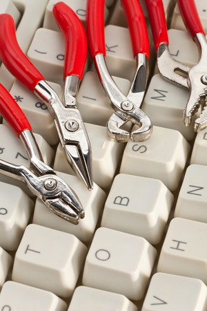 Computer Keyboard and Tools, concept of IT Support Stock Photo - 8089894