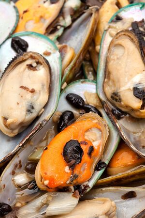 Cooked Mussel close up for background Stock fotó