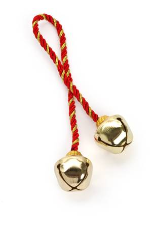 gold string: Christmas Bells with white background
